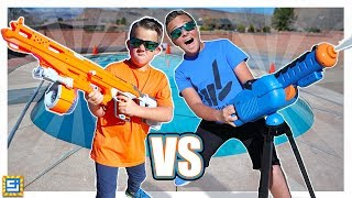 Sneak Attack Giant Nerf Blaster vs Giant Water Launcher!!