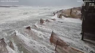 Hurricane Florence video: Storm surge rushes ashore in Avon