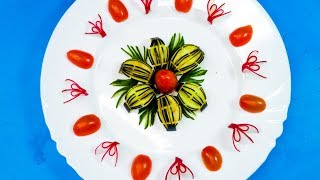Simply Beautiful Eggplant Flower & Tomato with Red Radish How to Make Food Decoration from Fruits
