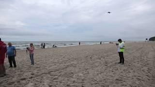Pokaz drona ratowniczego na kąpielisku w Jastrzębiej Górze. Lipiec 2018 r.