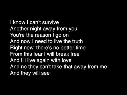 Celine Dion- I Surrender Lyrics (live)