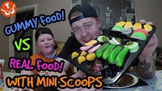 GUMMY FOOD VS REAL FOOD WITH MINI TWOSCOOPS #gummyvsreal #minime #tasty #challenge
