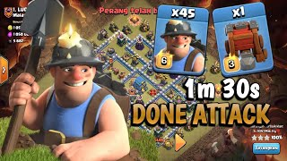 45 Miner + 5 Valkyrie In Wall Wrecker | Cool Attack Miner In Town Hall 12 | clash of clan