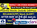 BANK STOCKS, PHARMA STOCKS, RELIANCE Stock, Tata Motors, yes bank, adani stocks