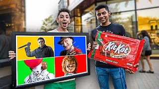 Giving People GIANT CANDY If They Guess The Horror Character...