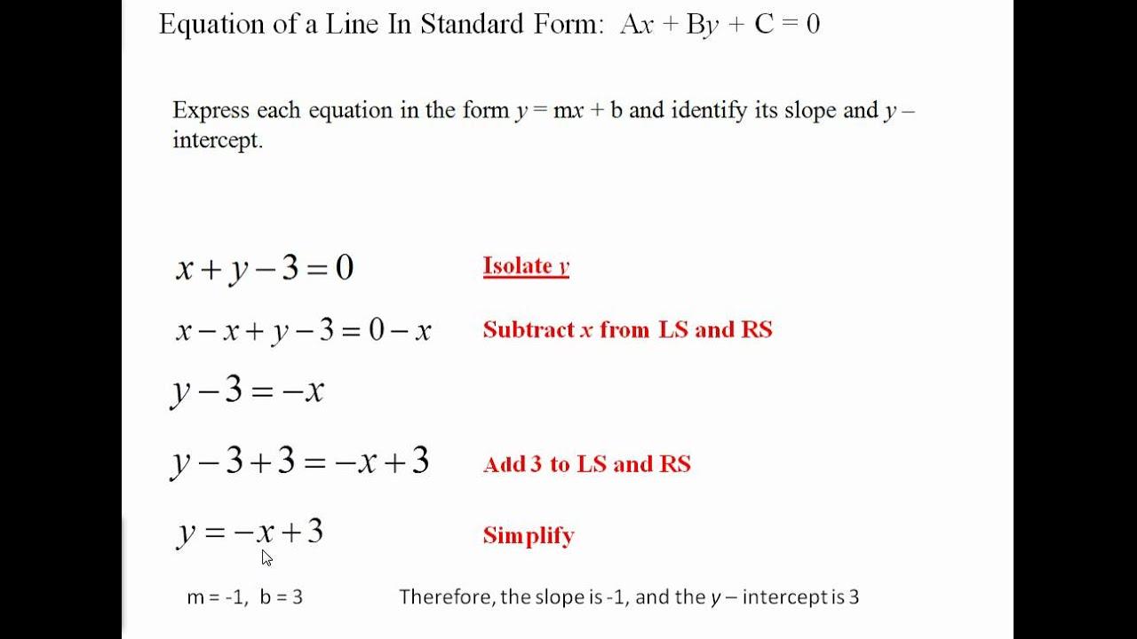 Standard Form of...Y Mx B Calculator