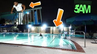 SNEAKING INTO THE POOL AT 3AM W/ CARMEN & COREY!! (COPS CALLED)