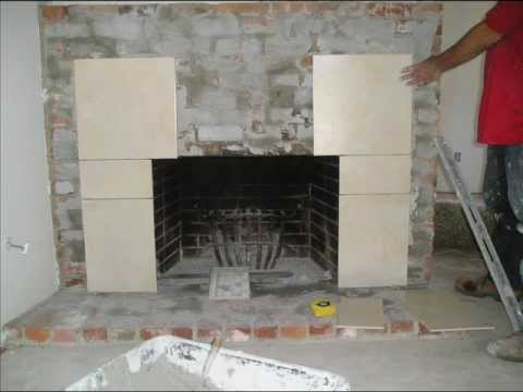 Fireplace Refacing From Brick To Tile Youtube