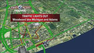 Several traffic lights out along Woodward Ave in downtown Detroit