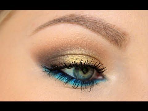 Gold Smokey Eye W Blue Lower Lash Line Tutorial