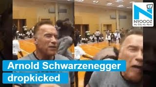 Watch: Arnold Schwarzenegger dropkicked at South Africa ev..