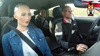 Robot Meets Self Driving Car - Sophia by Hanson & Jack by Audi
