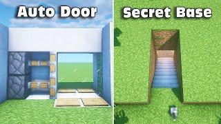 ⚒ Minecraft: 3 Redstone Build Hacks (Auto Door, Secret Base) #3
