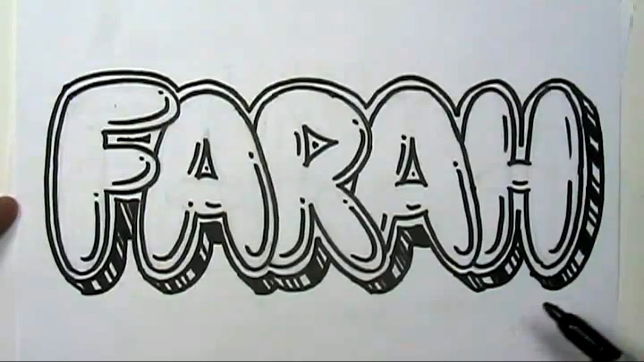how to draw graffiti letters write farah in bubble