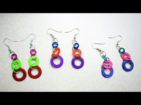How to make multi-color hardware earrings - with washers