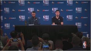 Stephen Curry and Klay Thompson |  NBA Finals Game 2 Postgame Interview