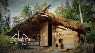 Traditional log cabin with a bear-proof door