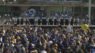 Raw Video: Rams Cheerleaders Perform At Team's Super Bowl Send-Off Rally