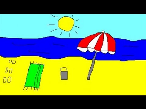 Drawings for children - painting a beach for kids - YouTube
