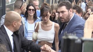 Bella Hadid, Gigi Hadid and Kendall Jenner swarmed by the fans after at the Alberta Ferretti Show in