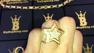 Bling Bling Super Gold Star CZ Mens Ring | Hip Hop Jewelry