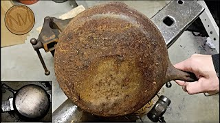 The Worst Cast Iron Pan - Restoration By Hand + Disappointing Ending