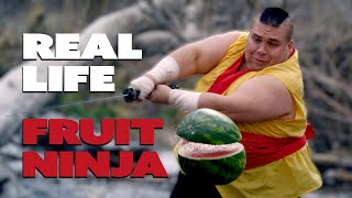 FRUIT NINJA IN REAL LIFE TO DUBSTEP! // ScottDW