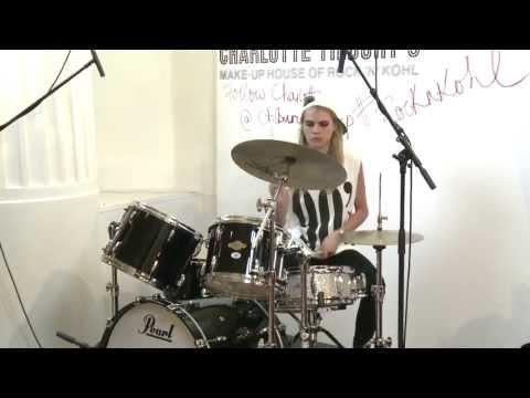 Cara Delevingne's Drumming Debut at Charlotte Tilbury's House of #RockNKohl! | @CTilburyMakeup