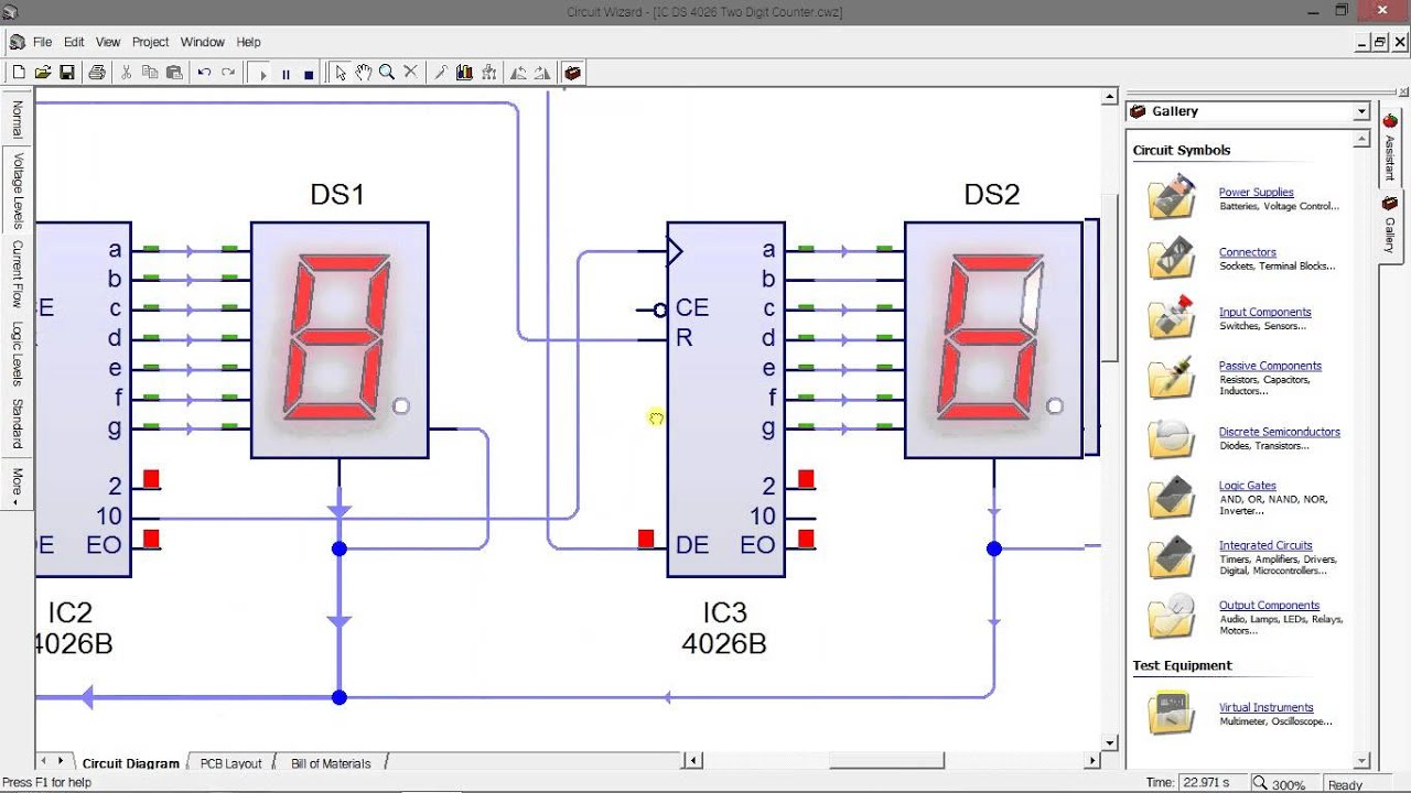 Simple 4026 Manual Digital Counter Circuit With Reset And
