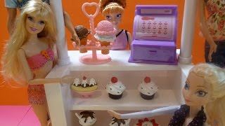 "Quầy Kem Của Công Chúa Disney Anna Barbie & Ken Đi Ăn Kem Ice Cream Stand Playset ""My life As"""