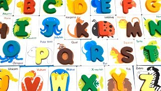 Learn wild Animals Names by Alphabet- British Card Recognized Figure Fight
