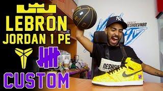 Lebron Jordan 1 Lakers PE Custom based on Undefeated x Kobe 1