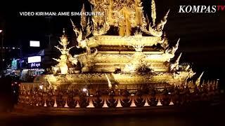 Cantiknya Golden Clock Tower Chiang Rai di Malam Hari