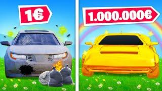 Voiture à 1€ vs Voiture à 1.000.000€ sur FORTNITE