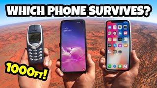 1000 FT DROP TEST! iPhone 11 Vs. Samsung S10 Vs. Nokia 3310