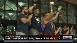 Astros fans celebrate Houston advancing to ALCS