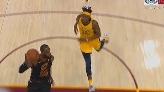 LeBron James Stares Down Myles Turner While Dunking For Pushing Him!