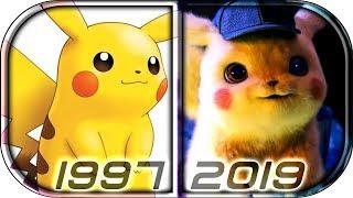 EVOLUTION of PIKACHU in Movies and Anime TV series (1997-2019) pokemon detective pikachu movie scene
