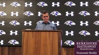 Ravens coach John Harbaugh opens his end-of-season news conference with thank yous.