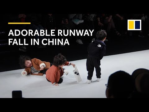 Adorable runway fall at kids fashion show in China warms hearts