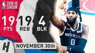 Andre Drummond Full Highlights Pistons vs Bulls 2018.11.30 - 19 Pts, 19 Reb, 4 Blocks!