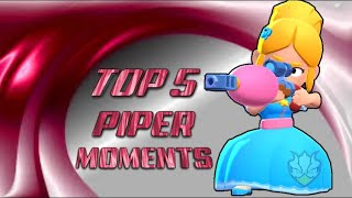 Brawl Stars Top 5 Best Piper Moments  300 IQ Lucky & Funny Moments Compilation/Montage