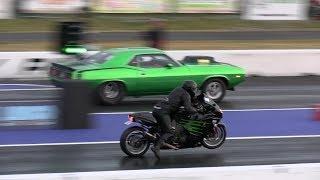 Kawasaki Battles 900hp Muscle Car - drag race,604 Street Legit