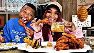 TRYING HONEYCOMB FOR THE FIRST TIME & FRIED CHICKEN MUKBANG