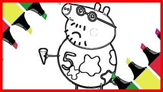 Coloring Daddy Pig Making Ice Cream - Colors Videos for Toddlers 1-3 Years Old