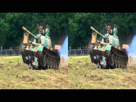 Russian tank crushes Vauxhall van
