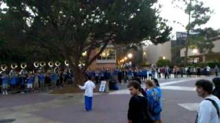 UCLA Band playing fight song at Bruin Plaza