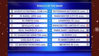 Sorteio dos confrontos de oitavas-de-final da UEFA Champions League 2017/2018