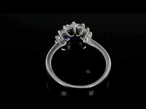 Browns Family Jewellers Diamond and Sapphire Cluster Engagement Ring