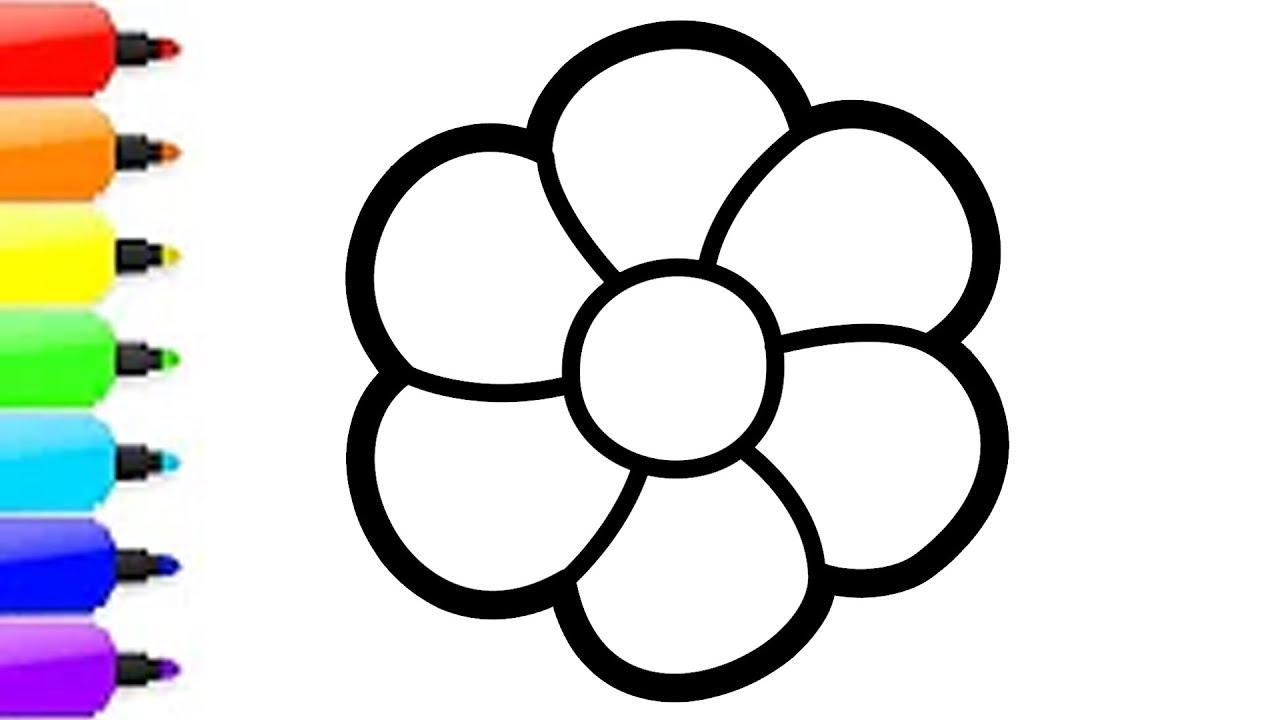 Menggambar Dan Mewarnai 3 Bunga Untuk Anak Anak